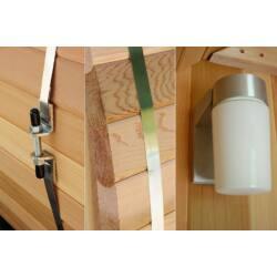 Kültéri hordó szauna előtérrel - rusztikus cédrus - 7+1 ft (245x185x200cm)