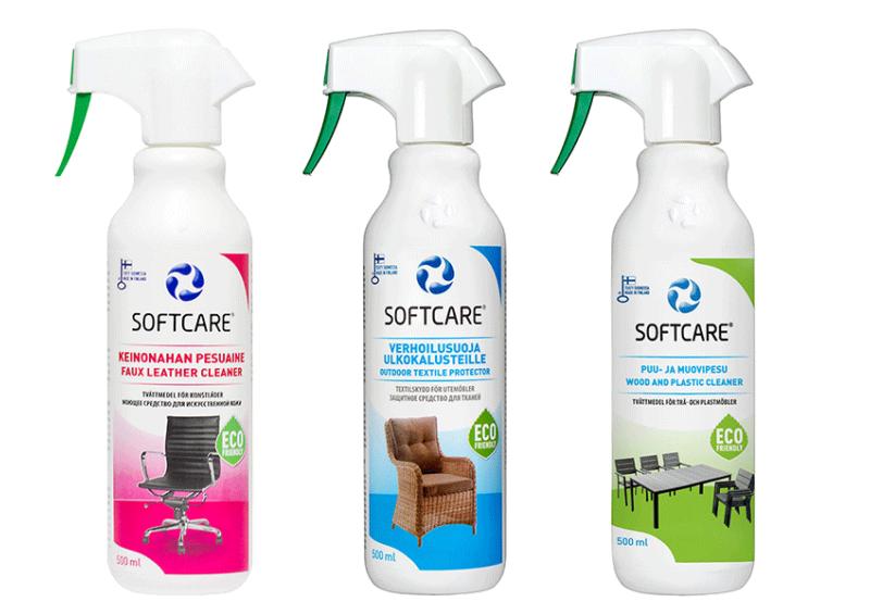 Softcare Spa Selection - Masszázsmedencékhez - Műbőr tisztító 500 ml + Szövetprotektor 500 ml + Műanyag felülettisztító