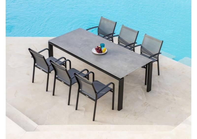 Arolla étkezőasztal Malaga székekkel (6 személyes garnitúra)