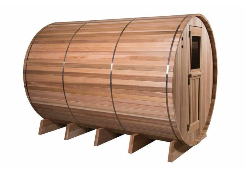 Kültéri hordó szauna többterű - rusztikus cédrus - 7+3 ft (300x213x230cm)