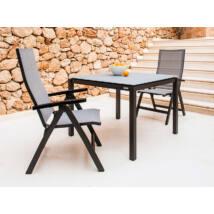 Juma 4 személyes étkezőasztal - Charcoal / White Mat / Champagne - 80x80 cm