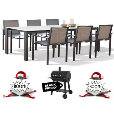GARDEN SELECTION - Arolla 6 személyes étkezőgarnitúra + AJÁNDÉK Broil King Smoker Charcoal Grill