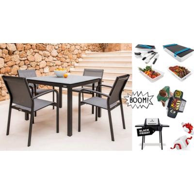 Balcony Selection - Juma/ Malaga 4 személyes étkezőszett + AJÁNDÉK Porta Chef Master 120 hordozható gázgrill + PortaChef grillszett