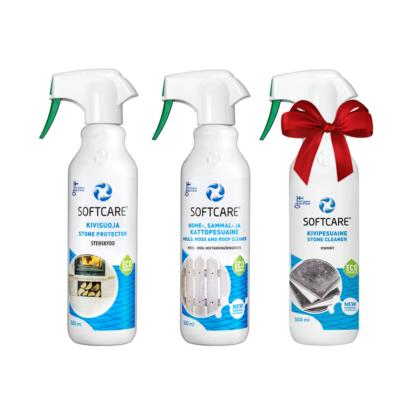 Softcare Indoor/Outdoor Selection - Kőburkolatokhoz - Penész és moha eltávolító 500 ml + Kő protektor 500 ml + AJÁNDÉK Kő tisztító 500 ml