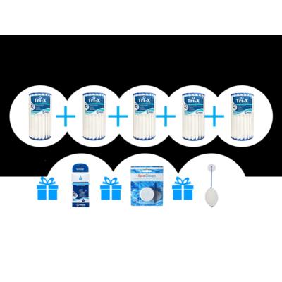 Tri-X Filter- kerámia szűrő csomag (5 db Tri-x szűrő + 1db Ezüsti ion patron + 1 db Spa Clean csőrendszertisztító tabletta + 1 db Absorb-It szivacs