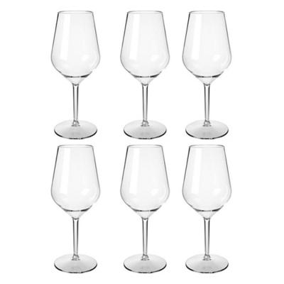 Happy Selection - 6 db-os Fehérboros pohár szett 47 cl - törhetetlen műanyag