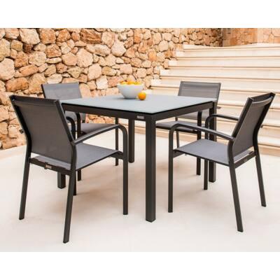 Juma 4 személyes étkezőasztal 80x80 cm- Malaga székekkel Charcoal