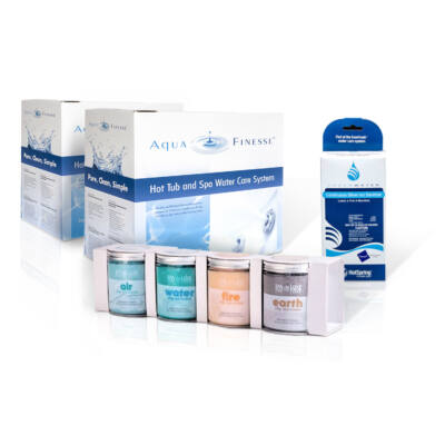 AquaFinesse vízkezelő csomag (2 doboz) + választható ajándék SpaDeluxe aromacsomag, vagy Ezüst Ion Patron
