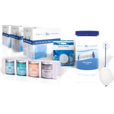Éves AquaFinesse vízkezelő csomag: 3 doboz AquaFinesse + SpaDeluxe, SpaClean, szűrőtisztító és Absorb-it zsírgyűjtő szivacs
