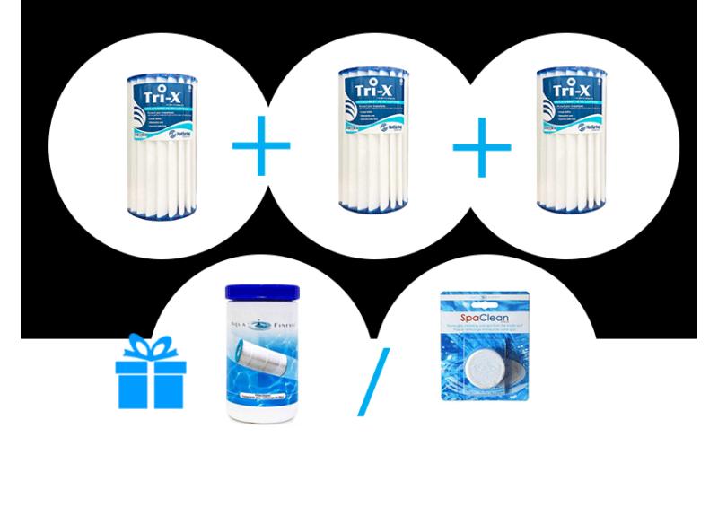 Tri-X Filter- kerámia szűrő csomag 3db Tri-x szűrő + AJÁNDÉK 1 db Filter Cleaner szűrőtisztító VAGY 1 db Spa Clean tabletta