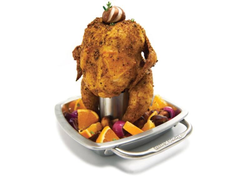 Rozsdamentes csirkesütő tál