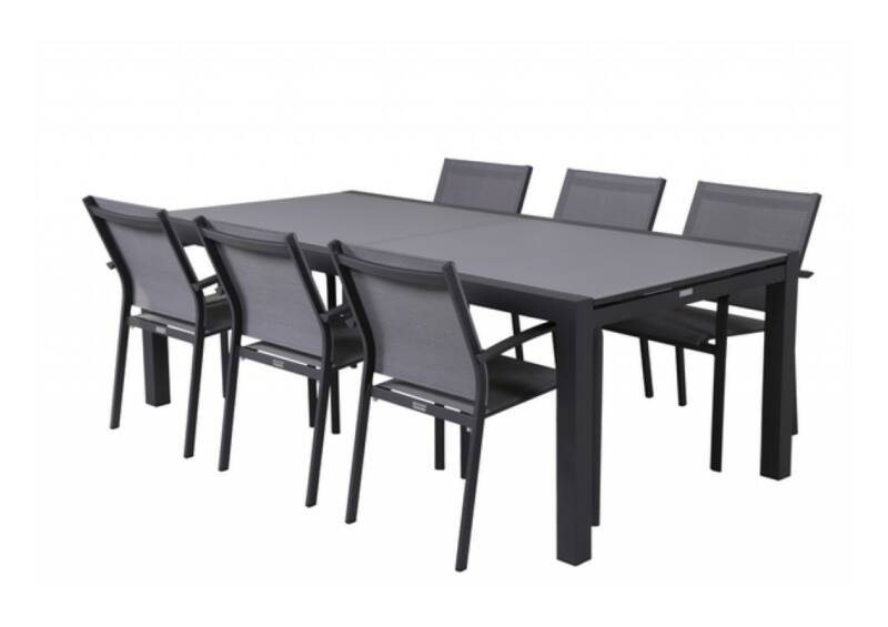 Livorno/Malaga étkezőgarnitúra 6 személyes (nagy antracit asztallal)