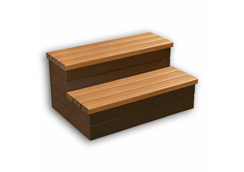 Everwood HD két fokos masszázsmedence  lépcső - Teak